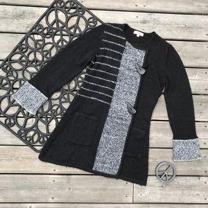 Le Grenier Black Gray Long Sleeve Knit Cardigan